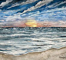 sunset on the beach by derekmccrea