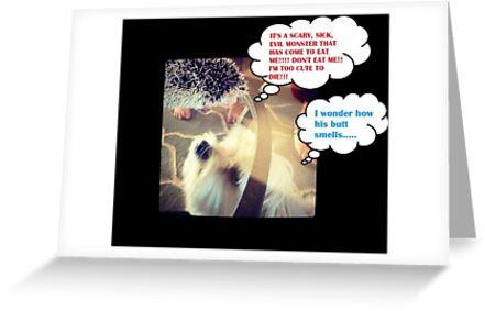Comedic Hedgehog and Dog by MadFales247