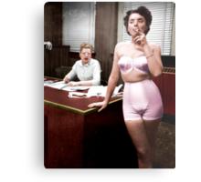 Female Lingerie Model Colorized Metal Print