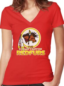 The Cosmo Canyon Redfurs - Redskins  Women's Fitted V-Neck T-Shirt