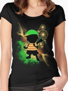 Super Smash Bros. Green Ness Silhouette Women's Fitted Scoop T-Shirt