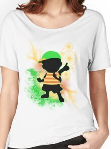 Super Smash Bros. Green Ness Silhouette Women's Relaxed Fit T-Shirt