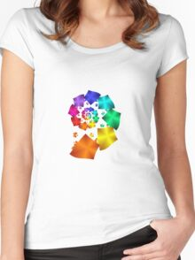 Colorful Geometric Spiral Women's Fitted Scoop T-Shirt