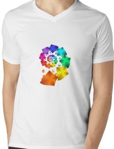 Colorful Geometric Spiral Mens V-Neck T-Shirt