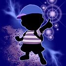 Super Smash Bros. Blue Ness Silhouette by jewlecho