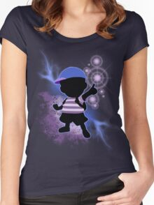 Super Smash Bros. Blue Ness Silhouette Women's Fitted Scoop T-Shirt