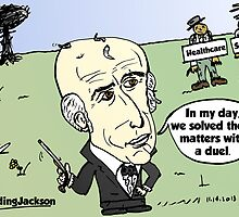 Editorial balding Andrew Jackson cartoon by Binary-Options