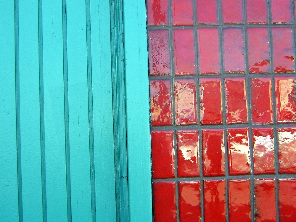 Turquoise Red Textures by Donna Grayson