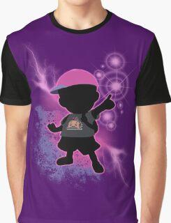 Super Smash Bros. Black/Purple Ness Silhouette Graphic T-Shirt