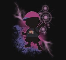 Super Smash Bros. Black/Purple Ness Silhouette Kids Tee