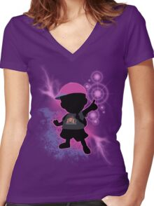 Super Smash Bros. Black/Purple Ness Silhouette Women's Fitted V-Neck T-Shirt