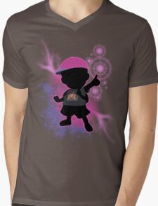 Super Smash Bros. Black/Purple Ness Silhouette Mens V-Neck T-Shirt