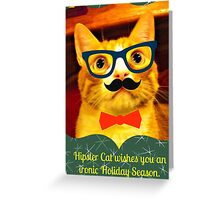 Hipster Cat Holidays Greeting Card