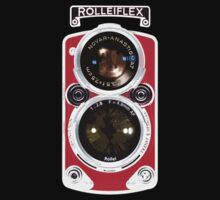 Vintage Classic Retro RED Rolleiflex dual lens camera by Johnny Sunardi