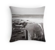 Newcastle Ocean Baths - Pump House B&W  Throw Pillow
