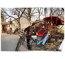 Rickshaws in Beijing city Poster