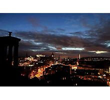 Edinburgh Skyline in the Twilight from Calton Hill Photographic Print
