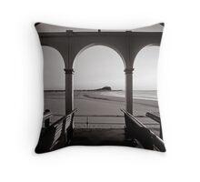 Nobbys Beach - B&W Throw Pillow