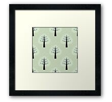seamless pattern with tree and bird Framed Print