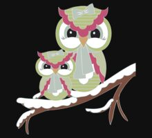 Two Owls for Christmas .. tee shirt by LoneAngel