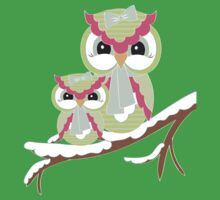 Two Owls for Christmas .. tee shirt Kids Clothes