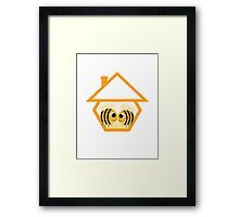 in love bee in abstract house Framed Print
