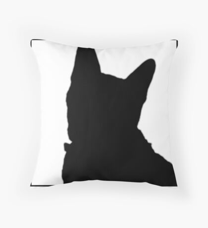 Large Black Cat Silhouette Throw Pillow