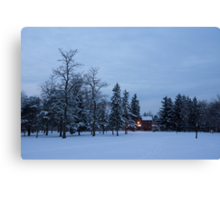 Snow, Stillness and Warm House Lights Canvas Print
