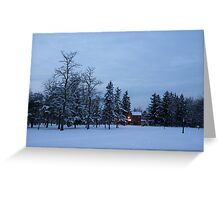 Snow, Stillness and Warm House Lights Greeting Card