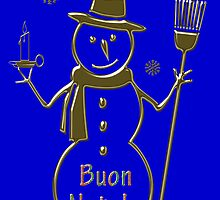 Gold Snowman Italian Merry Christmas Card Buon Natale by David Dehner