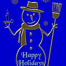 Gold Snowman Happy Holidays Card by David Dehner