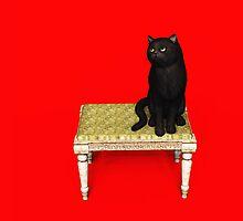 Black Cat on stool iPad by Roberta Angiolani
