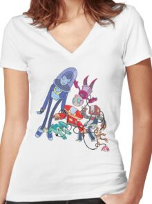 Robot Parade Women's Fitted V-Neck T-Shirt