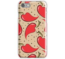 seamless pattern with red peppers iPhone Case/Skin