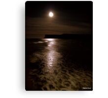 Moonlight on Saltburn Bay from Pier  Canvas Print