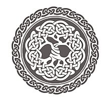 Celtic Tree of Life, grey, inverted Photographic Print