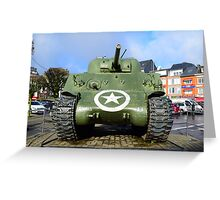 WWII USA Sherman Tank Greeting Card