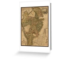 Map of Boston 1814 Greeting Card