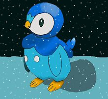 Piplup in the snow by undeadhamster