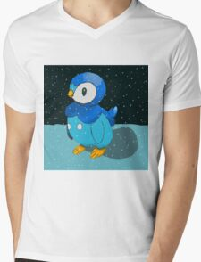 Piplup in the snow Mens V-Neck T-Shirt