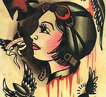 amelia earhart old school tattoo flash by resonanteye