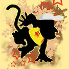 Super Smash Bros. Yellow Diddy Kong Silhouette by jewlecho