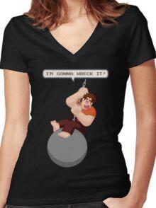 Wrecking Ball Ralph Women's Fitted V-Neck T-Shirt