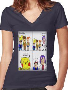 pokemon meme Women's Fitted V-Neck T-Shirt