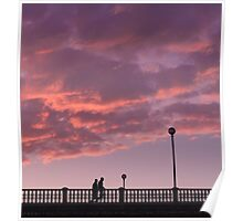 Two people walking on a bridge, in the evening Poster