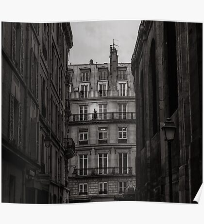 Woman on her balcony in Paris Poster