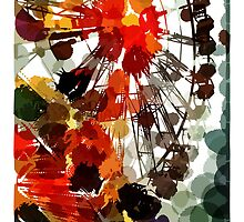 Ferris Wheel - Flashback To Childhood Fun - Digital Graphic by Mark Compton