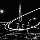 Light painted Eiffel Tower, Paris, France by Olivier Sohn