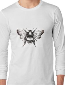 Black and White Bumble-Bee drawing. Long Sleeve T-Shirt