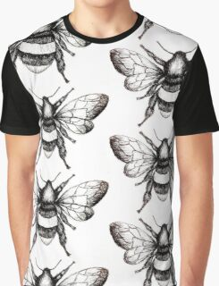 Black and White Bumble-Bee drawing. Graphic T-Shirt